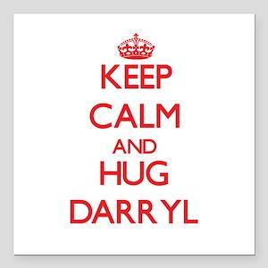 """Keep Calm and HUG Darryl Square Car Magnet 3"""" x 3"""""""