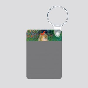 A Girl with a Watering Can Aluminum Photo Keychain