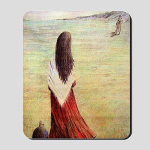 Woman in shawl waiting Mousepad