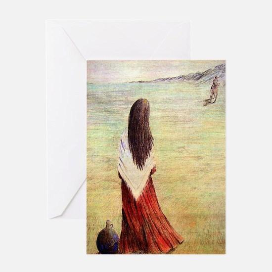 Woman in shawl waiting Greeting Card