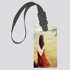 Woman in shawl waiting Large Luggage Tag