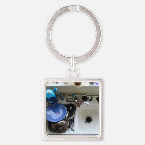 Dirty dishes Square Keychain