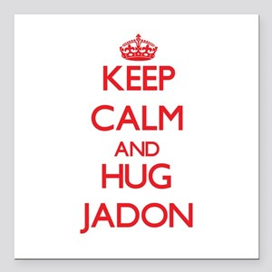 "Keep Calm and HUG Jadon Square Car Magnet 3"" x 3"""