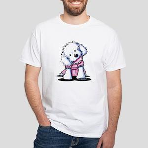 Maltese Girl In Pink White T-Shirt