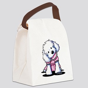 Maltese Girl In Pink Canvas Lunch Bag