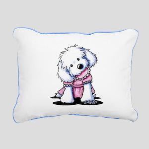 Maltese Girl In Pink Rectangular Canvas Pillow