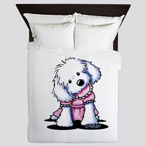 Maltese Girl In Pink Queen Duvet