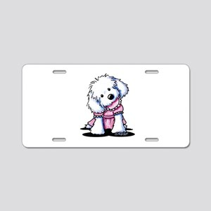 Maltese Girl In Pink Aluminum License Plate