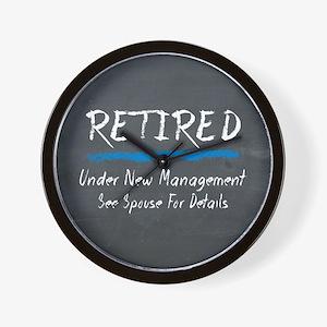 Chalkboard Retired Under New Management Wall Clock