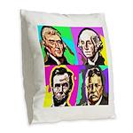 History Four Burlap Throw Pillow