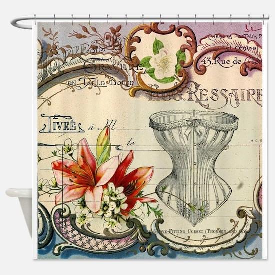 vintage lily floral paris corset gi Shower Curtain