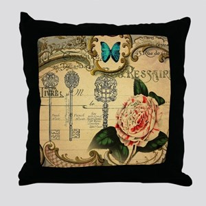 butterfly rose vintage keys victorian Throw Pillow