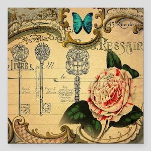 """butterfly rose vintage k Square Car Magnet 3"""" x 3"""""""