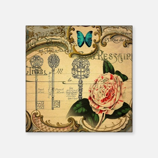 "butterfly rose vintage keys Square Sticker 3"" x 3"""