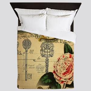butterfly rose vintage keys victorian Queen Duvet