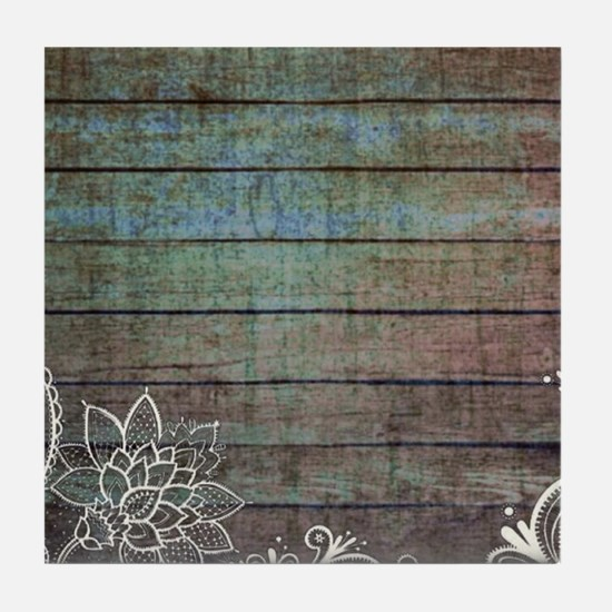 vintage lace blue barn wood country Tile Coaster