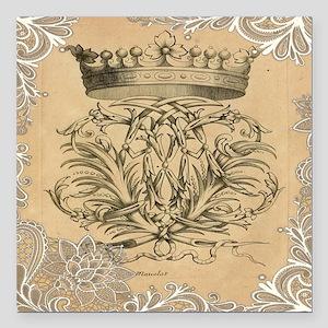 """lace vintage crown flour Square Car Magnet 3"""" x 3"""""""