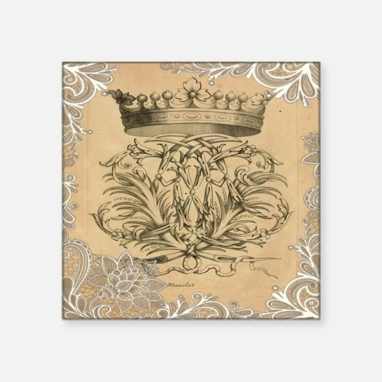 "lace vintage crown flourish Square Sticker 3"" x 3"""