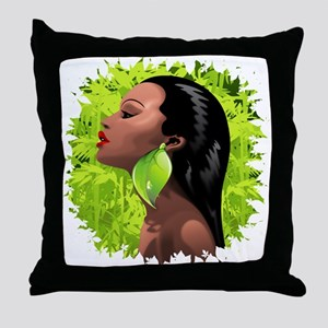 Woman African Beauty and Bamboo Throw Pillow