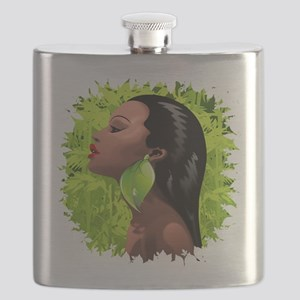 Woman African Beauty and Bamboo Flask