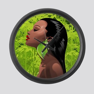 Woman African Beauty and Bamboo Large Wall Clock