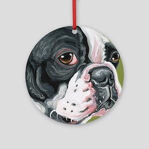 Boston Terrier Profile Round Ornament