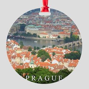 Prague Charles Bridge over Vltava river Round Orna