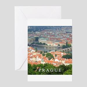 Prague Charles Bridge over Vltava river Greeting C
