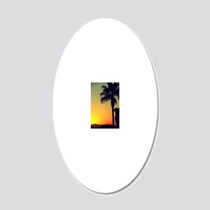 Sunset with Palm 20x12 Oval Wall Decal