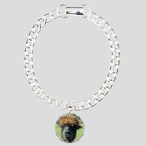 Black alpaca Charm Bracelet, One Charm
