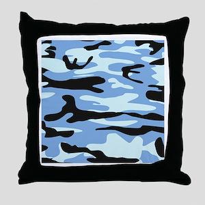 Light Blue Army Camo Throw Pillow