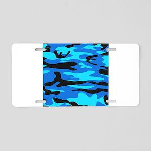 Bright Blue Army Camo Aluminum License Plate