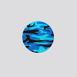 Bright Blue Army Camo Mini Button