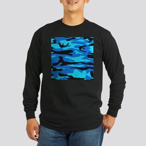 Bright Blue Army Camo Long Sleeve T-Shirt