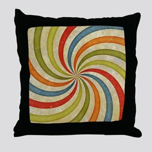 Psychedelic Retro Swirl Throw Pillow