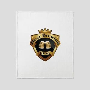 Golden Beer Brewing King Crown Crest Throw Blanket
