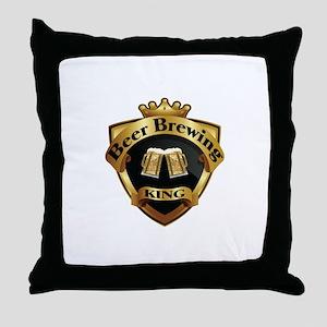 Golden Beer Brewing King Crown Crest Throw Pillow