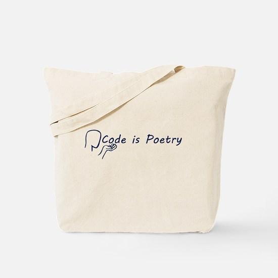 Code is Poetry Blue Tote Bag