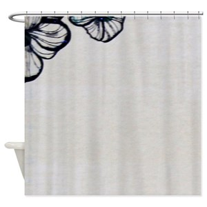 Floral Silhouettes Black Shower Curtains