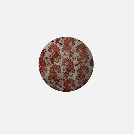 Flora Red Vintage Pattern Mini Button