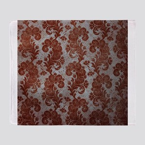 Flora Red Vintage Pattern Throw Blanket