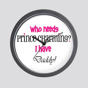 Daddy's my Prince (pink) Wall Clock