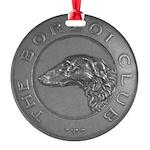 The Borzoi Club Vintage Silver Medallion Ornament
