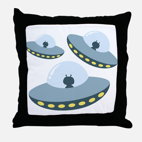 UFO Spacecrafts Throw Pillow