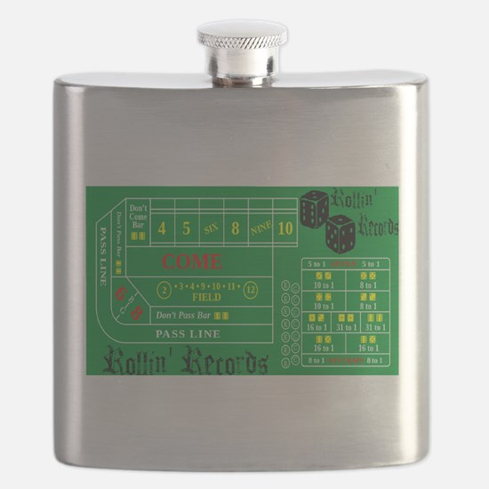 Rollin Records Craps Table Flask