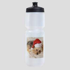 Santa Yorkie - Sports Bottle