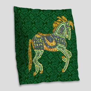 Jewel Art Horse Burlap Throw Pillow