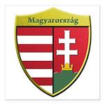 Hungary Metallic Shield Square Car Magnet 3