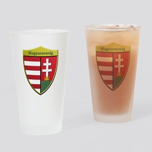 Hungary Metallic Shield Drinking Glass