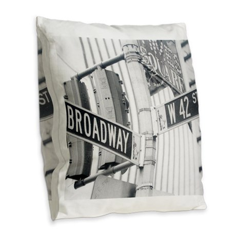 NY Broadway Times Square - Burlap Throw Pillow
